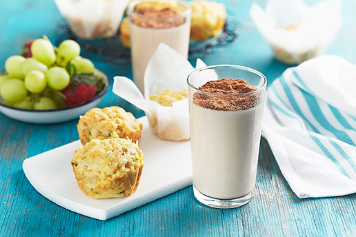muffins, fruit and MILO chocolate milk